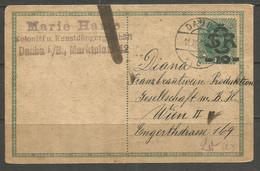 CZECHOSLOVAKIA. 1919. PROVISIONAL CARD. KAISER KARL. DAUBA POSTMARK. MARIE HAME – COLONIAL GOODS & CHEMICAL FERTILIZER. - Covers & Documents