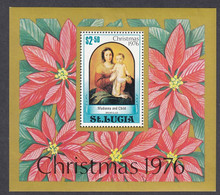 St Lucia, Scott #413, Mint Hinged, Madonna And Child, Issued 1976 - St.Lucia (...-1978)