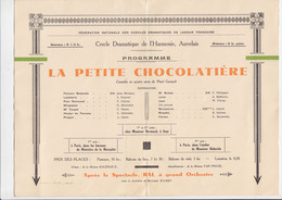 Auvelais - Théâtre De L'Harmonie - Grande Soirée - La Petite Chocolatière - 1935 - Programmes