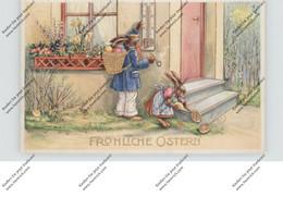 OSTERN - Hasenpaar Bei Der Eierverteilung, Thermometer, Präge-Karte - Easter