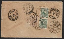 1896 - IRAN PERSIA - SEA POST OFFICE COVER - BOUSHIR To CAIRO,EGYPT - Via SUEZ -  DESTINATION - Irán