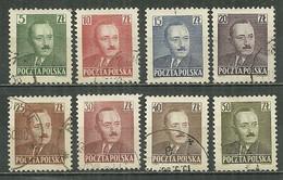 POLAND Oblitéré 574-581 Président Boleslaw BIERUT Politique - Gebraucht