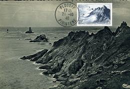 POINTE DU RAZ Cachet PLOGOFF 21/10/46 Sur Carte CIM 1er Jour Du Timbre - 1940-49