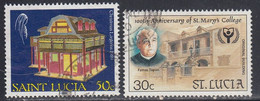 St Lucia, Scott #950, 965, Used, Christmas Lantern, Centenary Of St Mary's College, Issued 1989-90 - St.Lucia (1979-...)
