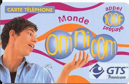 CARTE-PREPAYEE-100F-OMNICOM-MONDE-HOMME-24/01/2002-V° Lilas-GRATTEE-TBE - Prepaid-Telefonkarten: Andere