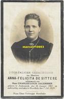De Sittere Anna Felicita Echtgenote Salembier ( Audenaerde 1861 - Harelbeke 1929 ) - Esquela
