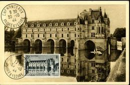 Château De Chenonceaux 25F Noir Cachet Ordinair EChenonceaux 30/10/44 Carte Edition Yvon - 1940-49