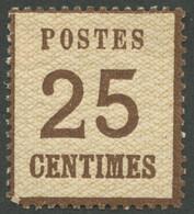 NDP 7Ia *, 1870, 25 C. Mittelbraun, Spitzen Nach Oben, Falzreste, Pracht, Mi. 130.- - Conf. De L' All. Du Nord
