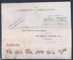 Lettera Della Lambretta Moto Portoghese Del 1956. Modelli Lambretta. Letter Portuguese Lambretta Moto. Lambretta Models. - Bikes & Mopeds