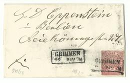 NDP Ka2 Grimmen Auf Kleinem Brief 1870 Nach Berlin - Conf. De L' All. Du Nord