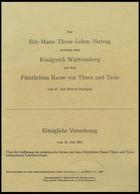 PHIL. LITERATUR Der Erb-Mann-Thron-Lehen-Vertrag Zwischen Dem Königreich Württemberg Und Dem Fürstlichem Hause Von Thurn - Philatelie Und Postgeschichte