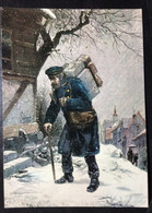 GERMANY,  Postcard, « Holzstich Nach O. Schulz », Budespostmuseum Frankfurt A. M. - Correos & Carteros