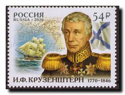 2020-2706 Russia Adam Johann Von Krusenstern,navigator, Admiral. Ships:sailboat. Map. Geography 1v MNH - Nuovi