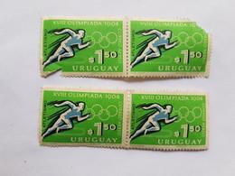 XVIII OLIMPIADA 1964 ATLETISMO URUGUAY 4 SELLOS, 4 STAMPS - Uruguay