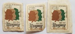 LOS TRES GAUCHOS ORIENTALES LUSSICH 3 SELLOS, 3 STAMPS URUGUAY 1972 - Uruguay
