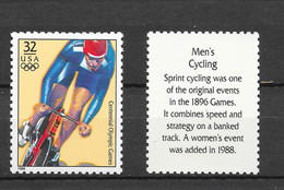 USA 1996 MiNr. 2709 Olympic Games Sports Cycling 1v MNH ** 0,90 € - Ciclismo