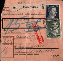 ! 1943 Kahla In Thüringen Nach Leipzig, Nachgebühr, Paketkarte, Deutsches Reich, 3. Reich - Briefe U. Dokumente