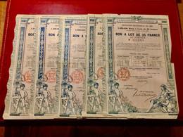 EXPOSITION  UNIVERSELLE  De  1889  -------- Lot  De  5  Bons  De  25 Frs - Unclassified