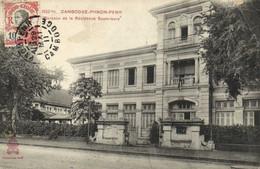 CAMBODGE Phom Penh Bureaux De La Residence Superieure  + Beau Timbre 10 Indochine Francaise  Recto Verso - Cambodia