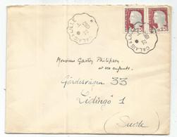 DECARIS 25CX2 LETTRE CONVOYEUR CALAIS A LILLE 22.1.1962 ECRITE  DE ST OMER PAS DE CALAIS POUR SUEDE - Bahnpost
