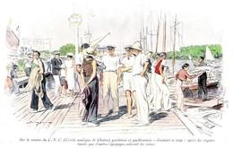 Sur Le Ponton Du Cercle Nautique De CHATOU (CNC) Illustration De J.SIMON 1934 - Vecchi Documenti