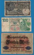 LOT BILLETS 3 BANKNOTES DEUTSCHES REICH - BELGIQUE - CESKA - Kiloware - Banknoten