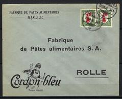 """SUISSE Pro Juventute 1926: LSC Illustrée De Rolle Intra Muros Avec 2x Le ZNr.J38, Obl. CAD """"Ambulant"""" - Covers & Documents"""