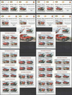 BU174 IMPERF,PERF 2013 BURUNDI FIRE TRUCKS SPECIAL TRANSPORT !!! 12KB+12BL MNH - Vrachtwagens