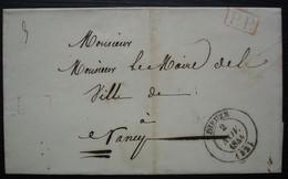 Dieuze 1844 (Meurthe)  Lettre En Port Payé Pour Nancy, Sans Correspondance - 1801-1848: Voorlopers XIX