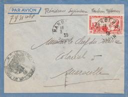 """INDOCHINE Lettre Cachet HANOI 1939 Avec Cachet Administratif """"LE RÉSIDENT SUPÉRIEUR DU TONKIN"""" - Storia Postale"""