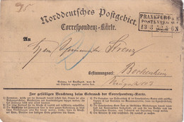 NORDDEUTSCHER BUND 1872 CORRESPONDENZ KARTE DE FRANKFURT - Conf. De L' All. Du Nord