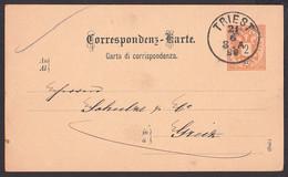 Triest Carta Di Corrispondenza 2 Kreuzer Ganzsache Mit Privatem Zudruck 21.6.1890, Benussi & Comp. - 1850-1918 Imperium