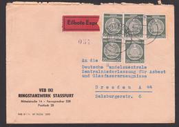 STASSFURT Eil-Doppelbrief 1.3.57 Nach Dresden, VEB(K) Ringstanzwerk, K Für Kreisverwaltet - Service