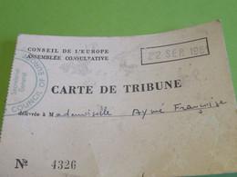 Carte Associative/Conseil De L'Europe/Assemblée Consultative/Council Of E./Carte De Tribune/Françoise AYME/1961   AEC181 - Organizaciones