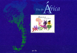 ANGOLA 2001 AFRICA DAY, ELEPHANT, MAP MNH MINIATURE SHEET. - Other