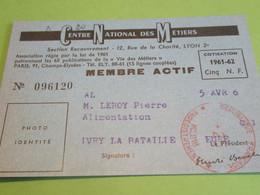 Carte Associative/Centre National Des Métiers/LYON/ Membre Actif/Leroy/Ivry La Bataille/Eure/1961  AEC183 - Organizaciones