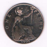 ONE PENNY 1907  GROOT-BRITANNIE /8364/ - 1902-1971 : Monete Post-Vittoriane