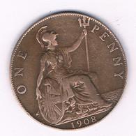 ONE PENNY 1908  GROOT-BRITANNIE /8365/ - 1902-1971 : Monete Post-Vittoriane