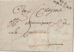 """1795 - LAC De CHAUNY Port Dû  5  MP N° 2 CHAUNY + Cachet Au Dos """" District ..."""" - 1792-1815: Départements Conquis"""