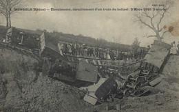 MONSOLS - EBOULEMENT DERAILLEMENT D'UN TRAIN DE BALLAST - 3 MARS 1910  - 2 MORTS - Altri Comuni