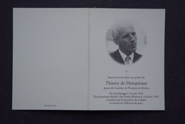 Doodsprentje Adel: Thierry De Hemptinne. Echtgen. De Pierpont De Rivière. °Gentbrugge, +Sint-Denijs-Westrem. - Décès