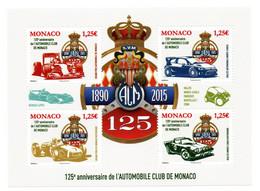 Monaco 2015 : LUXE !!!  Feuillet N° F 2986 - Les 125 Ans De L'Automobile Club De Monaco - - Blocks & Kleinbögen