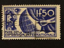 Timbre 327  1f50 Outremer  Exposition De Paris 1937 Oblitéré  Cote 4,50€ - France
