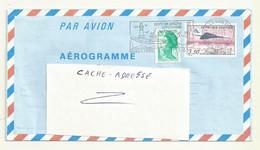 AEROGRAMME N° 1012 AER  OBLITERE  AVEC COMPLEMENT AFFRANCHISSEMENT. - Aérogrammes