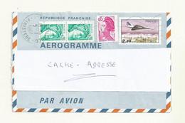 AEROGRAMME N° 1007 AER  OBLITERE  AVEC COMPLEMENT AFFRANCHISSEMENT. - Aérogrammes