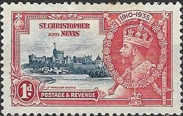 ST KITTS-NEVIS 1935 Silver Jubilee - 1d - Blue And Red MH - St.Christopher-Nevis & Anguilla (...-1980)