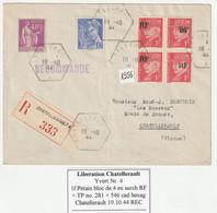 Frankreich 19.10.1944 Liberation Chatellerault 1f Petain Bloc De 4 Surch. RF, Details Siehe Unten - Liberation