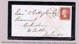 Great Britain 1857 1d Red Plate 43 JH DURHAM 267 Sideways Duplex For DE 28 57 Mourning Env To Dublin - Brieven En Documenten