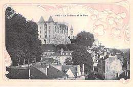 64 - PAU Le Chateau Et Le Parc - Jolie Carte En Relief Avec Cadre Fantaisie ( Brins De Muguet ) CPA Pyrenées Atlantiques - Pau