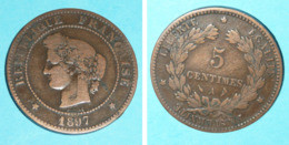 Rare Pièce De Monnaie 5  Centimes A, France République Française 1897 - C. 5 Centesimi